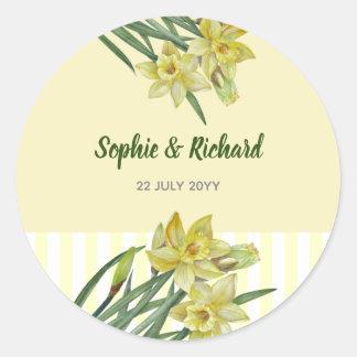 Sticker Rond Illustration de portrait de fleur de jonquilles