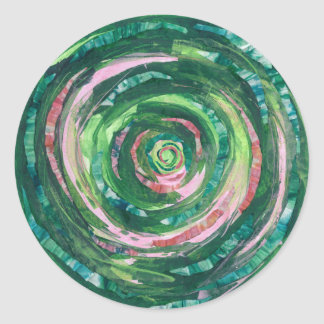 Sticker Rond illustration Vert-Rose #2 de 4th-Heart Chakra