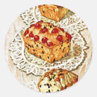 Sticker Rond Illustration vintage de gâteau de fruit