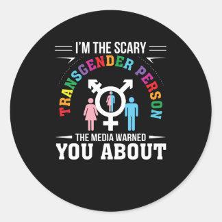 Sticker Rond Im les médias effrayants de personne de