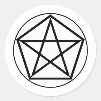 Sticker Rond Image du nombre 5 : le Pentagone ou Pentagramme