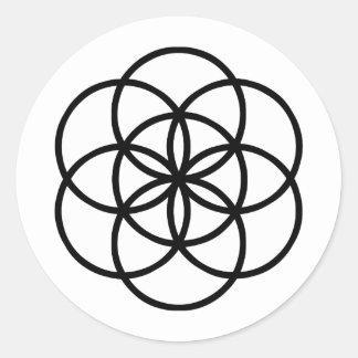Sticker Rond Images du nombre 7 : la Graine de Vie