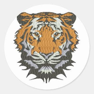Sticker Rond imitation de tigre de broderie