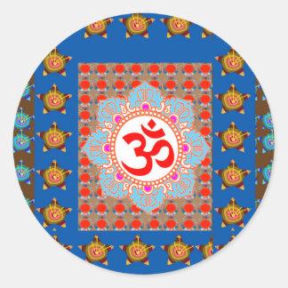 Sticker Rond Incantation élégante d'OmMANTRA : Méditation de