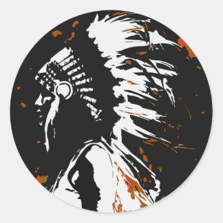Sticker Rond Indien d'Amerique indigène