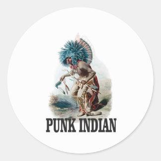 Sticker Rond Indien punk bleu