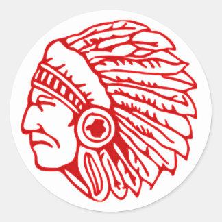 Sticker Rond Indien rouge de Peau Rouge