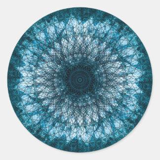 Sticker Rond Indigo Blue Mandala