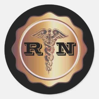 Sticker Rond Infirmière goldtone de RN de caducée | médical