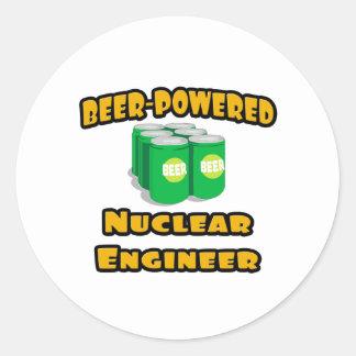 Sticker Rond Ingénieur nucléaire Bière-Actionné