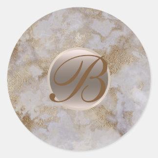 Sticker Rond Initiale chic moderne fascinante de marbre de