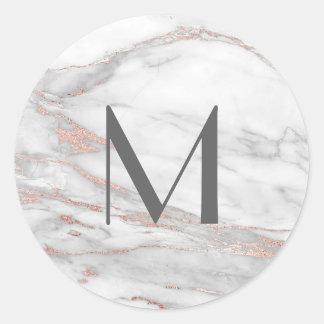 Sticker Rond Initiale de lettre de monogramme de marbre de