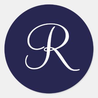 Sticker Rond Initiale R de monogramme de bleu marine et de