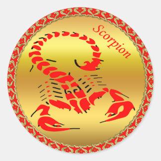 Sticker Rond Insecte très venimeux toxique rouge de scorpion
