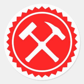 Sticker Rond Insigne de marteau de roche (rouge)