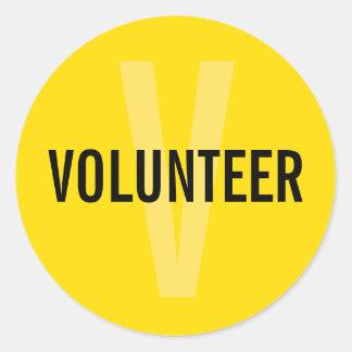 Sticker Rond Insigne volontaire jaune