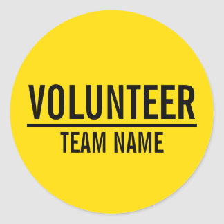 Sticker Rond Insigne volontaire jaune avec le nom fait sur