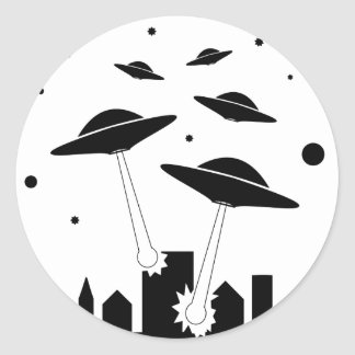 Sticker Rond Invasion d'UFO