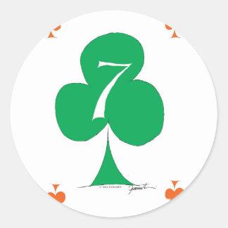 Sticker Rond Irlandais chanceux 7 des clubs, fernandes élégants