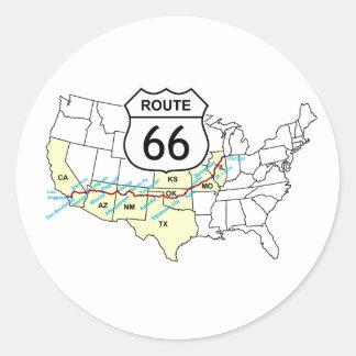 Sticker Rond Itinéraire 66