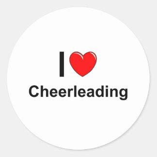 Sticker Rond J'aime Cheerleading de coeur