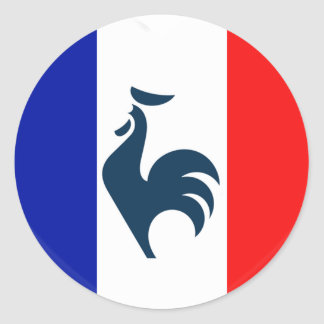 Sticker Rond J'aime coq drapeau France