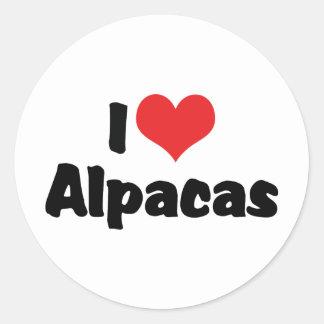 Sticker Rond J'aime des alpaga de coeur