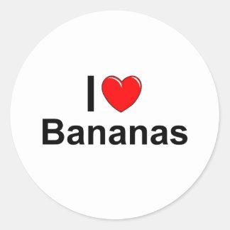 Sticker Rond J'aime des bananes de coeur