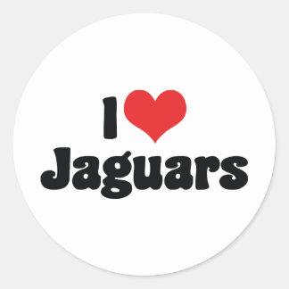 Sticker Rond J'aime des jaguars de coeur
