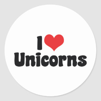 Sticker Rond J'aime des licornes de coeur