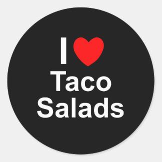 Sticker Rond J'aime des salades de taco de coeur