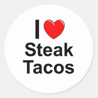 Sticker Rond J'aime des tacos de bifteck de coeur