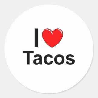 Sticker Rond J'aime des tacos de coeur