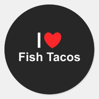 Sticker Rond J'aime des tacos de poissons de coeur