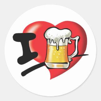 Sticker Rond J'aime la bière