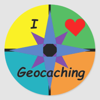 Sticker Rond J'aime l'autocollant de Geocaching (petit)