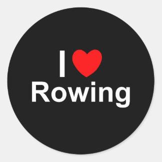 Sticker Rond J'aime l'aviron de coeur