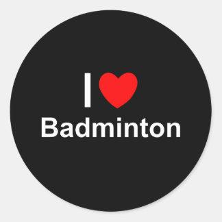Sticker Rond J'aime le badminton de coeur