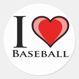 Sticker Rond J'aime le base-ball