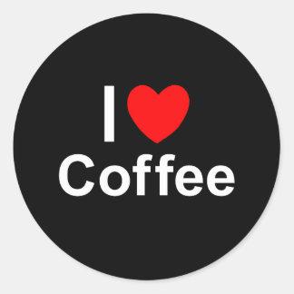 Sticker Rond J'aime le café de coeur