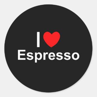 Sticker Rond J'aime le café express de coeur