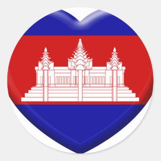 Sticker Rond j'aime le Cambodge