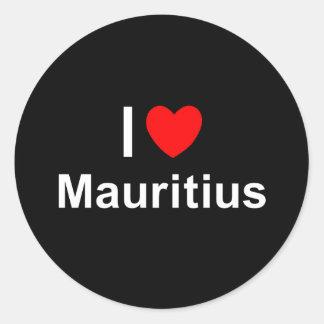 Sticker Rond J'aime le coeur Îles Maurice