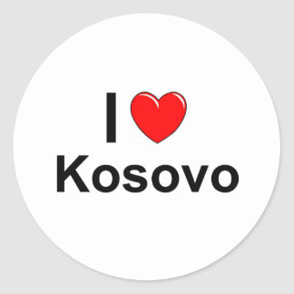 Sticker Rond J'aime le coeur Kosovo