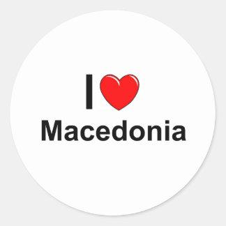 Sticker Rond J'aime le coeur Macédoine