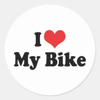 Sticker Rond J'aime le coeur mon vélo - amant de moto de
