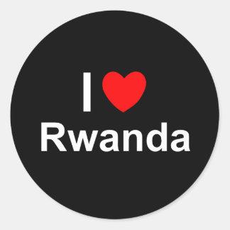 Sticker Rond J'aime le coeur Rwanda