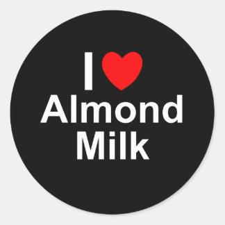 Sticker Rond J'aime le lait d'amande de coeur