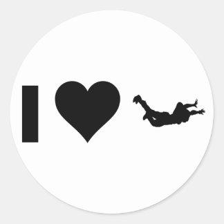 Sticker Rond J'aime le parachutisme