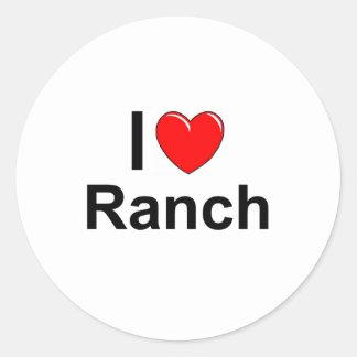 Sticker Rond J'aime le ranch de coeur